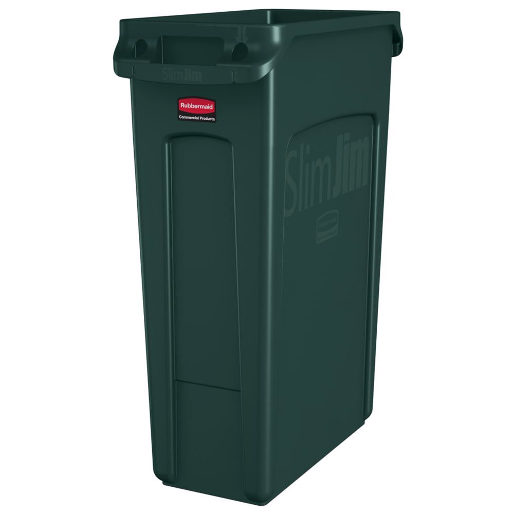 "Rubbermaid 1956186 16-gal Rectangle Slim Trash Can, 22""L x 11""W x 30""H, Green"