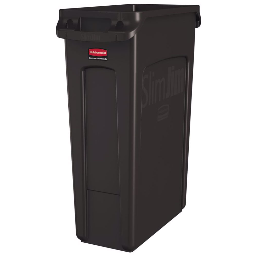 "Rubbermaid 1956187 16-gal Rectangle Slim Trash Can, 22""L x 11""W x 30""H, Brown"