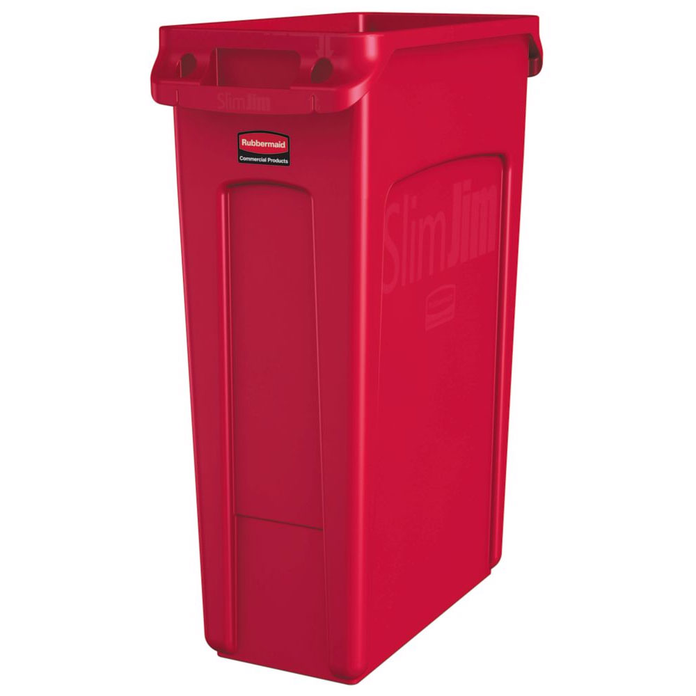 "Rubbermaid 1956189 16-gal Rectangle Slim Trash Can, 22""L x 11""W x 30""H, Red"