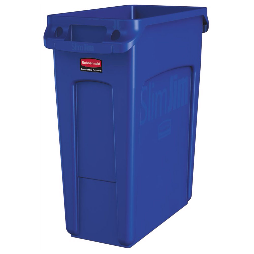 "Rubbermaid 1971257 16-gal Rectangle Slim Trash Can, 22""L x 11""W x 25""H, Blue"