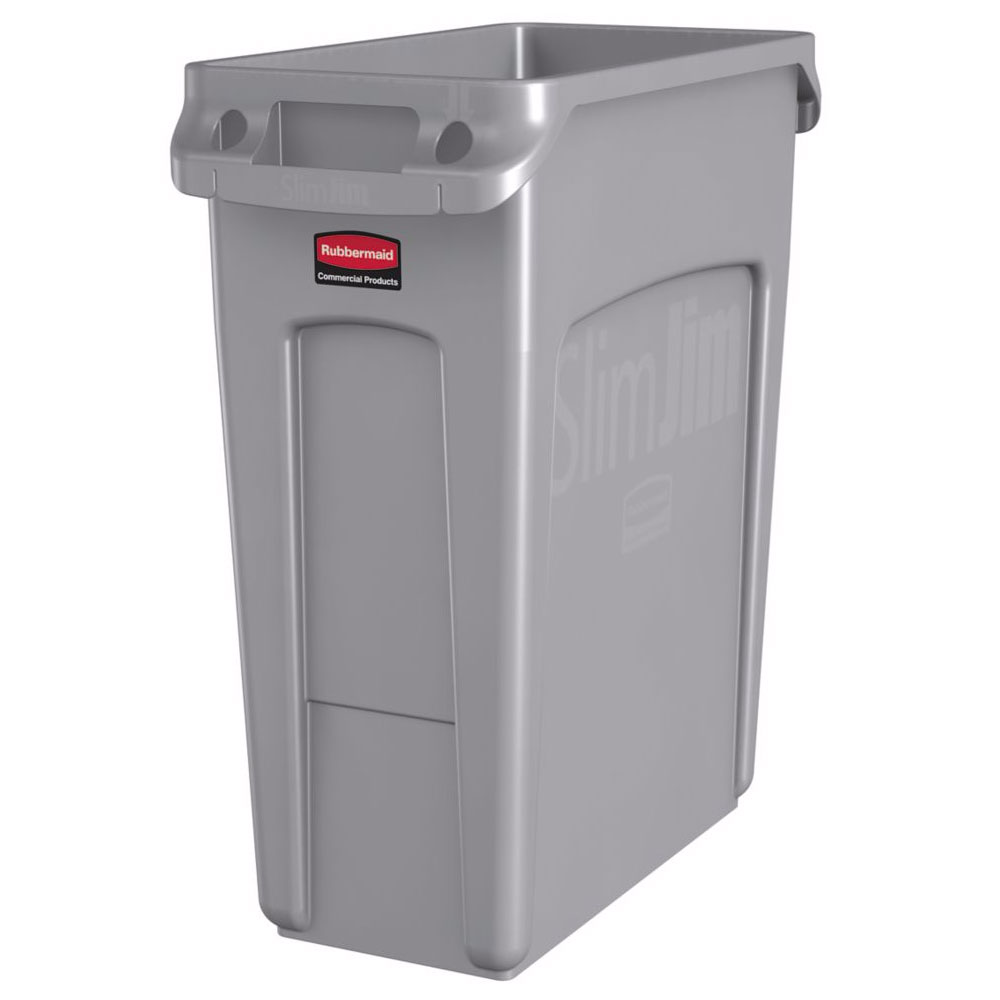 "Rubbermaid 1971258 16-gal Rectangle Slim Trash Can, 22""L x 11""W x 25""H, Gray"