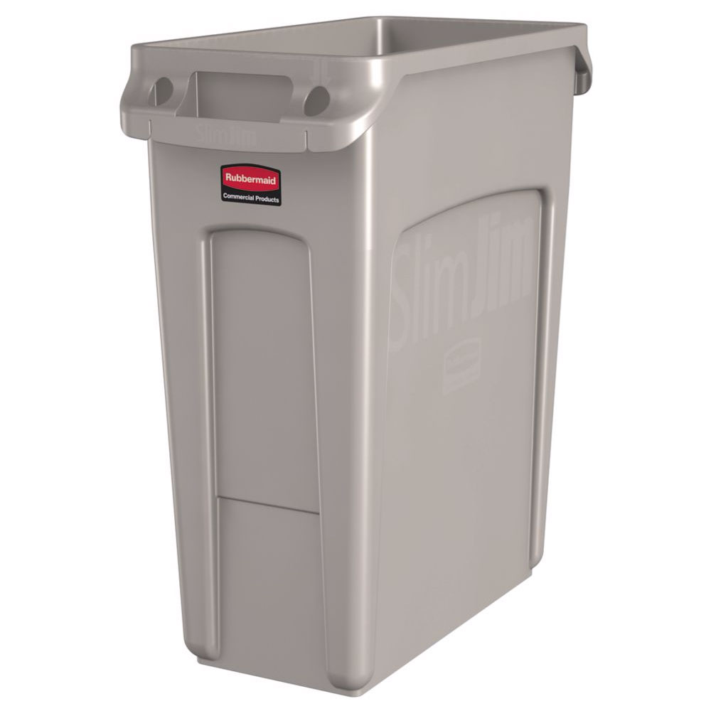Rubbermaid 1971259 16 gal rectangle slim trash can 22 l x 11 w x 25 h beige - Slim garbage cans for kitchen ...