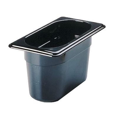 "Rubbermaid FG201P00BLA Hot Food Pan - 1/9 Size, 4"" Deep, Poly, Black"