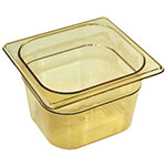 Rubbermaid FG205P00AMBR Hot Food Pan - 1/6 Siz
