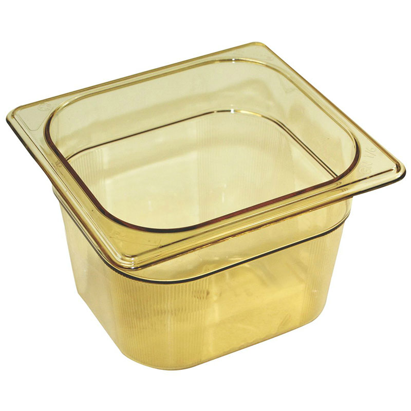 "Rubbermaid FG205P00AMBR Hot Food Pan - 1/6 Size, 4"" Deep, Poly, Amber"