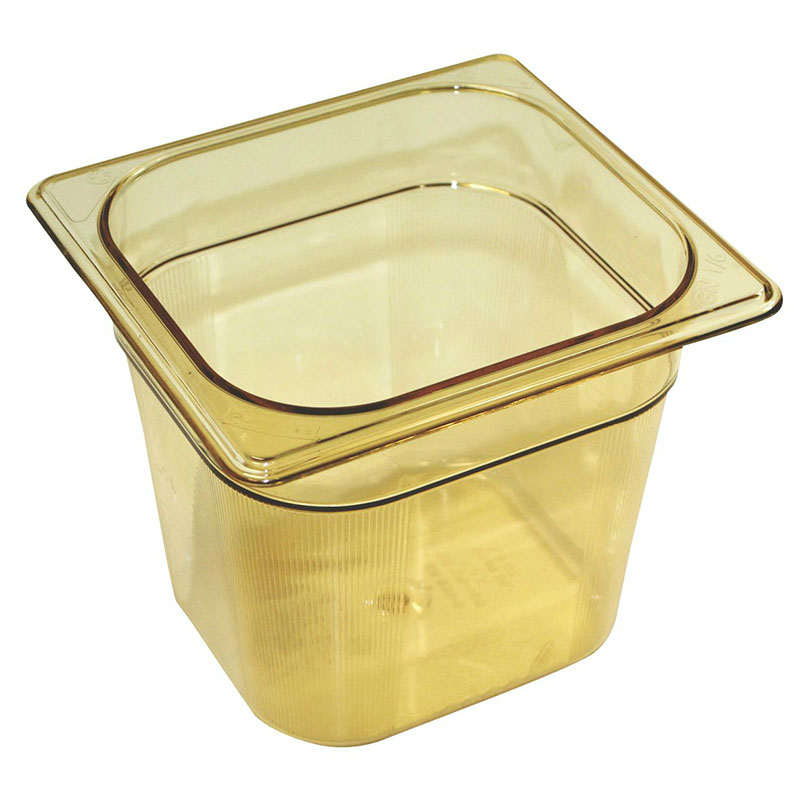 "Rubbermaid FG206P00AMBR Hot Food Pan - 1/6 Size, 6"" Deep, Poly, Amber"