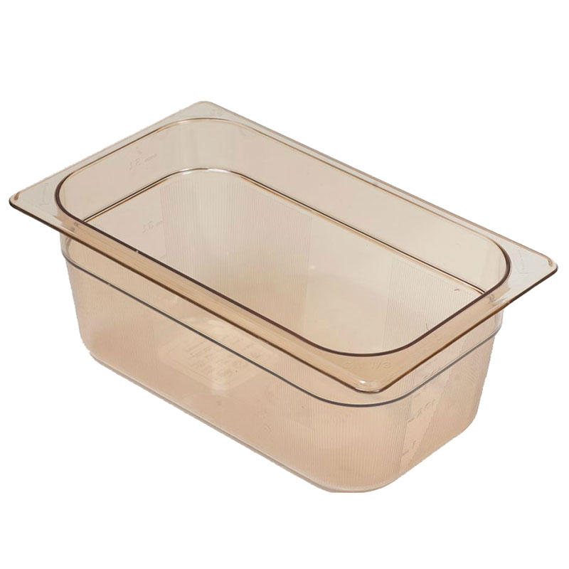 "Rubbermaid FG211P00AMBR Hot Food Pan - 1/4 Size, 4"" Deep, Poly, Amber"