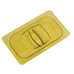 Rubbermaid FG214P86AMBR Hot Food Pan Cover - Notched, 1/4 Size, Amber