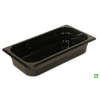 "Rubbermaid FG216P00BLA Hot Food Pan - 1/3 Size, 2-1/2"" Deep, Poly, Black"