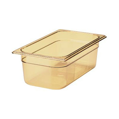 "Rubbermaid FG217P00AMBR Hot Food Pan - 1/3 Size, 4"" Deep, Poly, Amber"