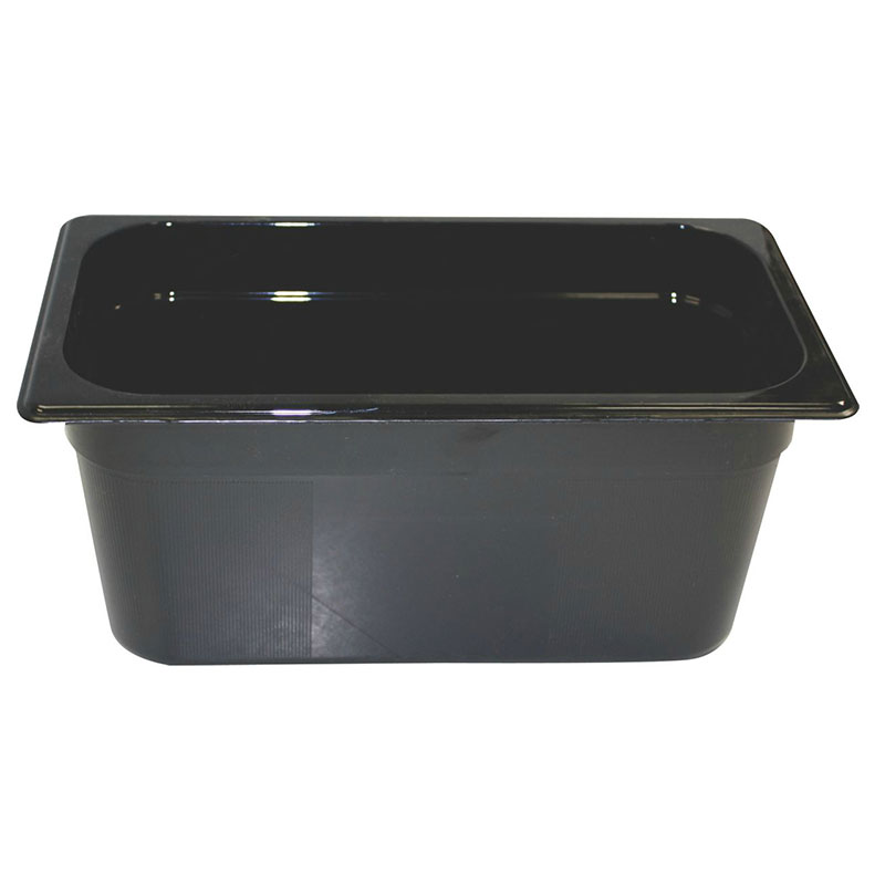 "Rubbermaid FG218P00BLA Hot Food Pan - 1/3 Size, 6"" Deep, Poly, Black"