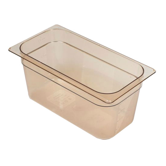 "Rubbermaid FG218P00AMBR Hot Food Pan - 1/3 Size, 6"" Deep, Poly, Amber"