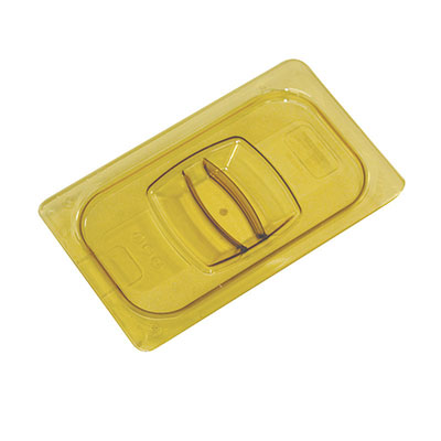 Rubbermaid FG221P86AMBR Hot Food Pan Cover - Notched, 1/3 Size, Amber