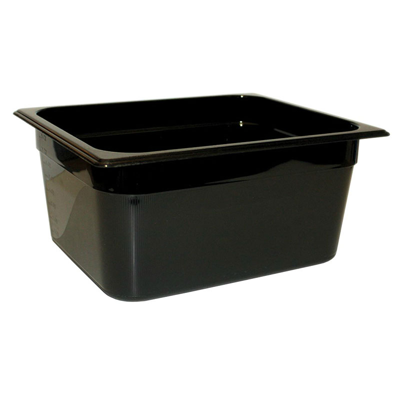 "Rubbermaid FG225P00BLA Hot Food Pan - Half Size, 6"" Deep, Poly, Black"
