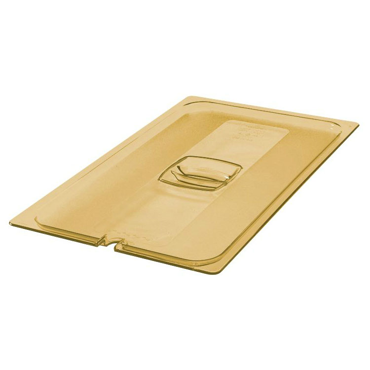 Rubbermaid FG234P86AMBR Hot Food Pan Cover - Notched, Full Size, Amber