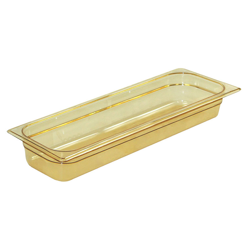 "Rubbermaid FG239P00AMBR Hot Food Pan - Half Size Long, 2-1/2"" Deep, Poly, Amber"