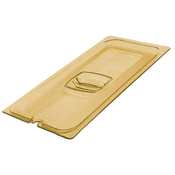 Rubbermaid FG241P00AMBR Hot Food Pan Cover - Half Size Long, Amber
