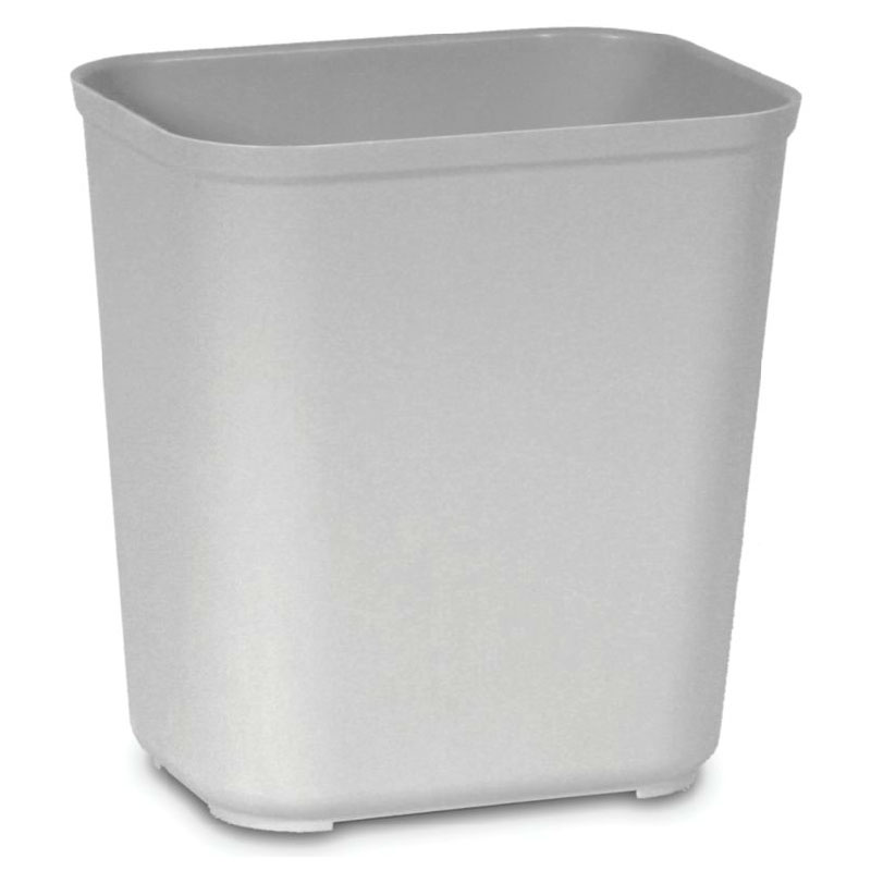 Rubbermaid FG254300GRAY 28-qt Rectangle Waste Basket - Plastic, Gray