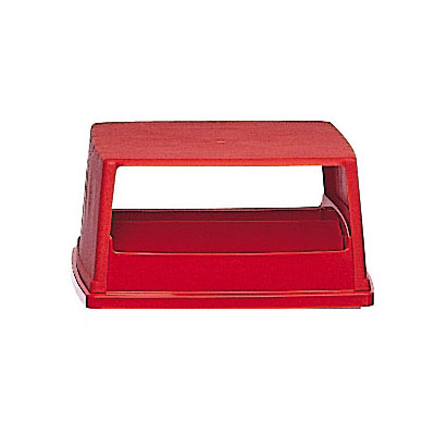 Rubbermaid FG256X00RED Square, Dome Trash Can Lid - Plastic, Red