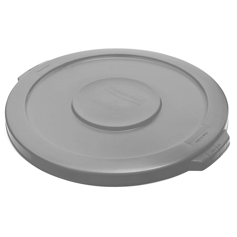 Rubbermaid FG260900GRAY Round Flat Top Trash Can Lid - Plastic, Gray