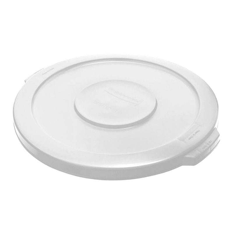 Rubbermaid FG260900WHT Round Flat Top Trash Can Lid - Plastic, White