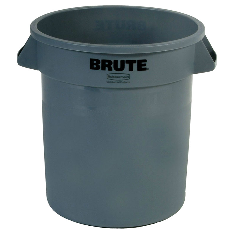 Rubbermaid FG261000GRAY 10-gallon Brute Trash Can - Plastic, Round, Food Rated