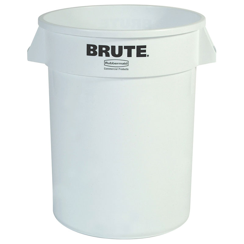 Rubbermaid FG261000WHT 10-gallon Brute Trash Can - Plastic, Round, Food Rated