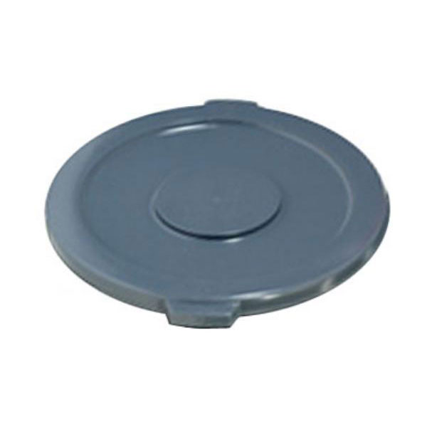 Rubbermaid FG261960GRAY Round Flat Top Trash Can Lid - Plastic, Gray