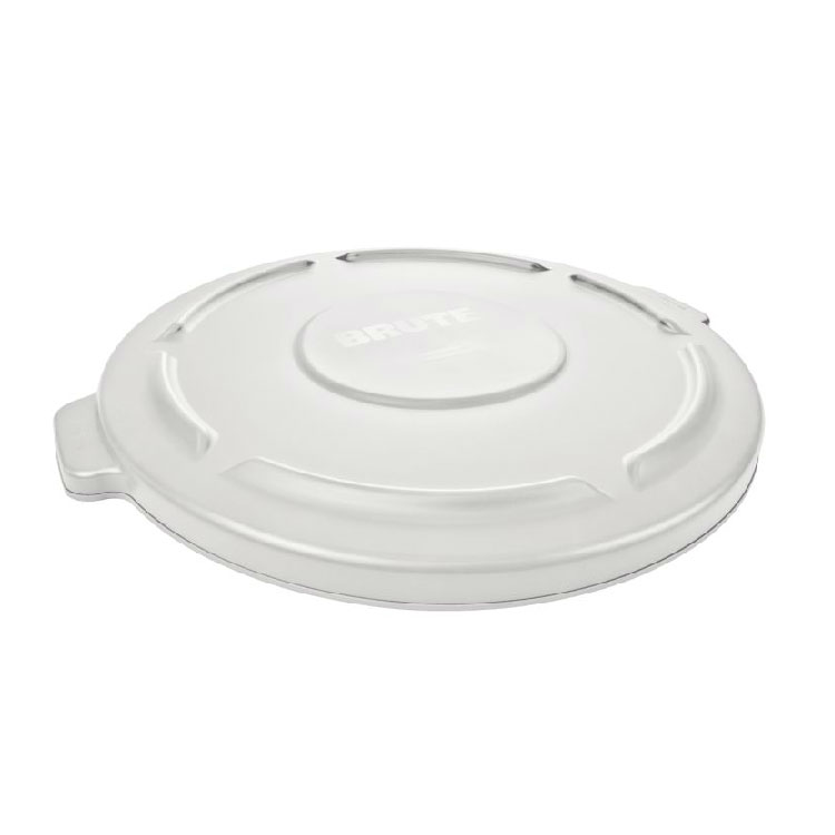 Rubbermaid FG261960WHT Round Flat Top Trash Can Lid - Plastic, White