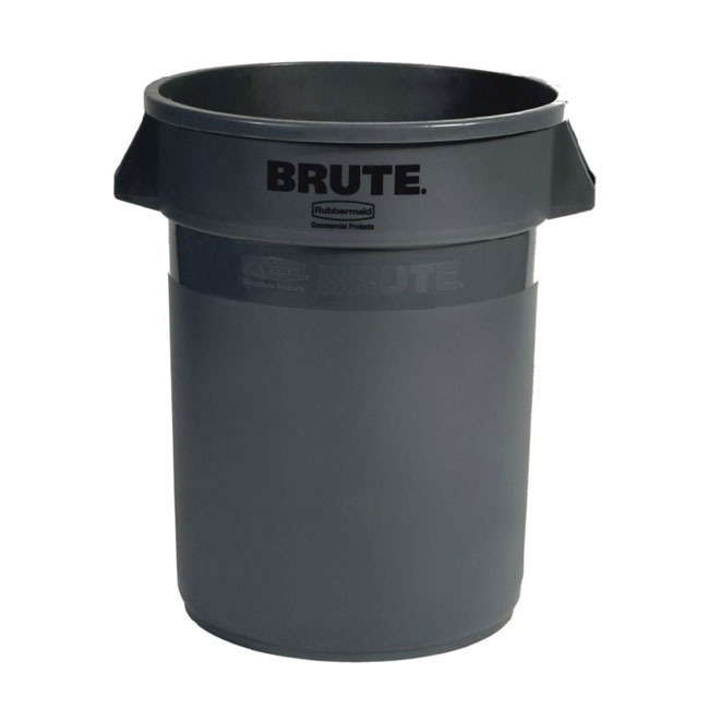 Rubbermaid FG262000GRAY 20-gallon Brute Trash Can - Plastic, Round, Food Rated