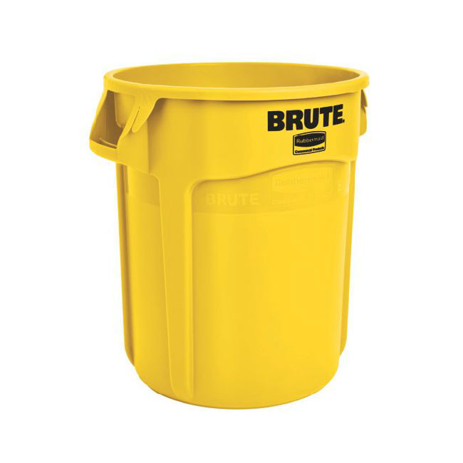 Rubbermaid FG262000YEL 20-gallon Brute Trash Can - Plastic, Round, Food Rated
