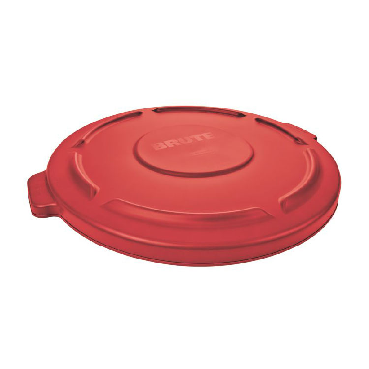 Rubbermaid FG263100RED Round Flat Top Trash Can Lid - Plastic, Red