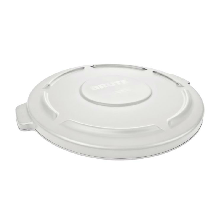 Rubbermaid FG263100WHT Round Flat Top Trash Can Lid - Plastic, White