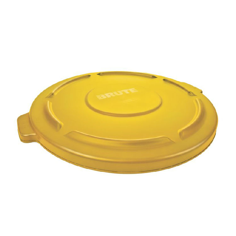 Rubbermaid FG263100YEL Round Flat Top Trash Can Lid - Plastic, Yellow