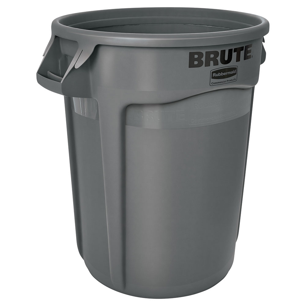 Rubbermaid FG263200GRAY 32-gallon Brute Trash Can - Plastic, Round, Food Rated