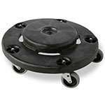 Rubbermaid FG264000BLA Round Plastic Trash Can Dolly w/ Raised Center & 250-lb Capacity