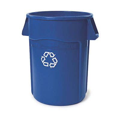 Rubbermaid FG264307BLUE 44-gal BRUTE Recycling Container - Venting Channels, Blue