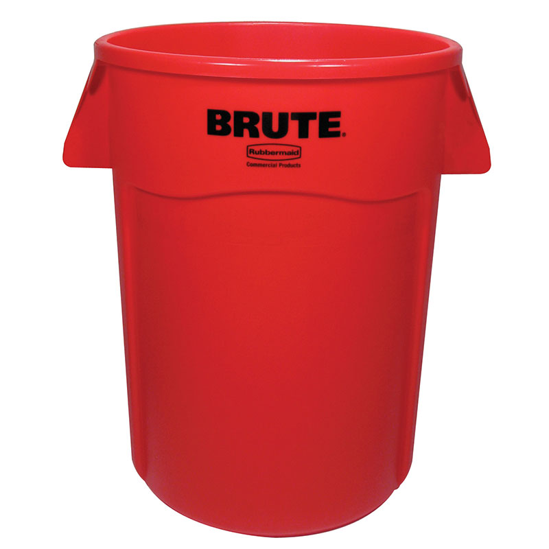 Rubbermaid FG264360RED 44-gallon Brute Trash Can - Plastic, Round, Food Rated