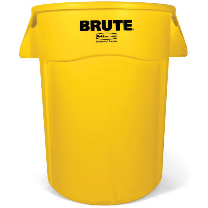Rubbermaid FG264360YEL 44-gallon Brute Trash Can - Plastic, Round, Food Rated