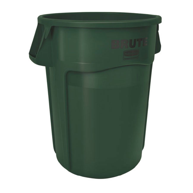 Rubbermaid FG264300DGRN 44-gallon Brute Trash Can - Plastic, Round, Food Rated
