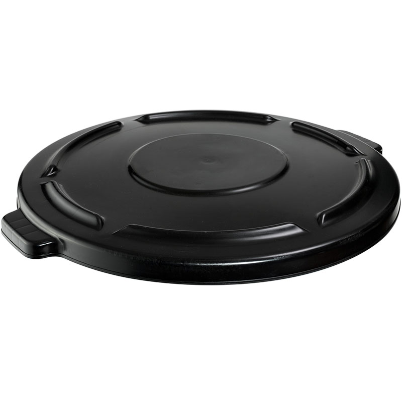 Rubbermaid FG264560BLA Round, Flat Top Trash Can Lid - Plastic, Black