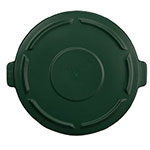 Rubbermaid 264560DGRN Round Flat Top Trash Can Lid - Plastic, Dark Green