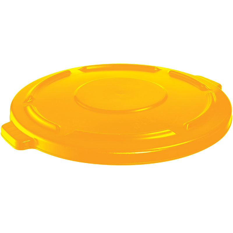 Rubbermaid FG264560YEL Round Flat Top Trash Can Lid - Plastic, Yellow