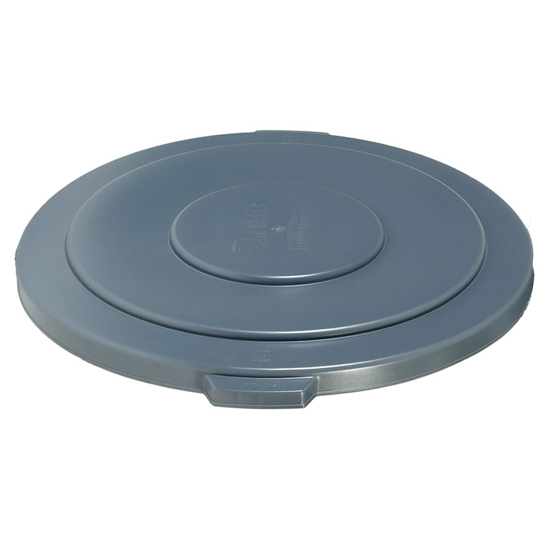 Rubbermaid FG265400GRAY Round Flat Top Trash Can Lid - Plastic, Gray