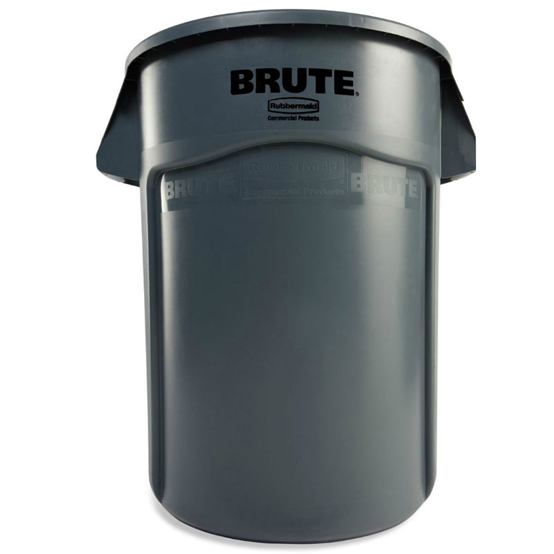 Rubbermaid FG265500GRAY 55-gallon Brute Trash Can - Plastic, Round, Food Rated