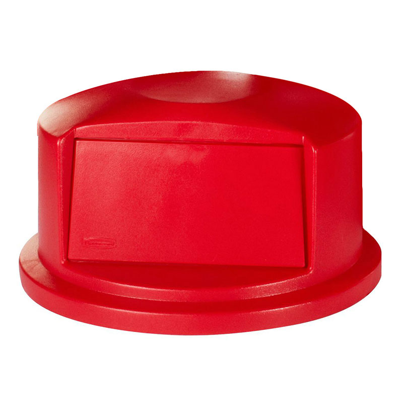 Rubbermaid FG265788RED Round, Dome Trash Can Lid - Plastic, Red