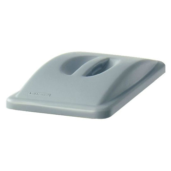 Rubbermaid FG268888LGRAY Rectangle Dome Top Trash Can Lid - Plastic, Gray