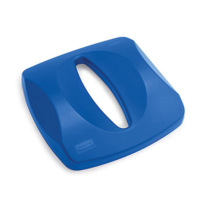 "Rubbermaid FG269000BLUE 16"" Square Paper Recycle Top - Blue"