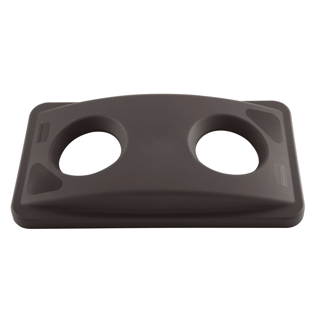 Rubbermaid FG269288BRN Rectangle Recycling Trash Can Lid - Plastic, Brown