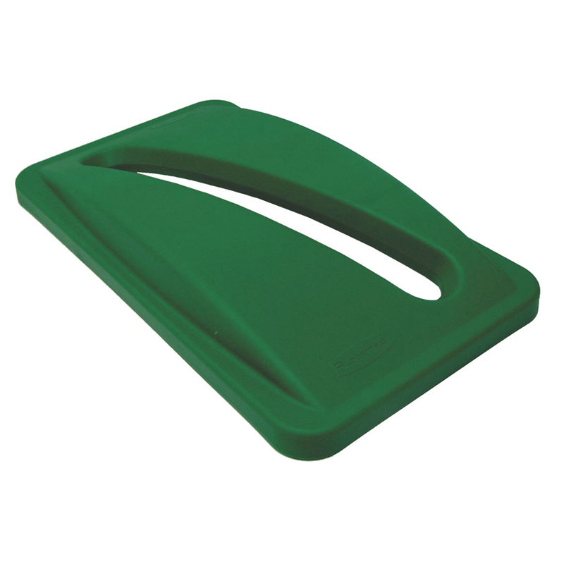 Rubbermaid FG270388GRN Rectangle Recycling Trash Can Lid - Plastic, Green